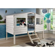 Sleep can be fun with this Donco Kids Tree House Loft Bed. A lofted twin bed is surrounded by walls and a house-like front making it safe and exciting for your child. A rustic sand finish makes it gender neutral for boys or girls.