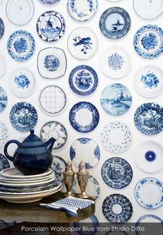 Porcelain Wallpaper Blue from Studio Ditte