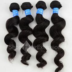 Unprocessed 4Pcs/Lot Same Length Natural Black (#1B) Virgin Peruvian Remy Hair Bundles Loose Wavy 400g