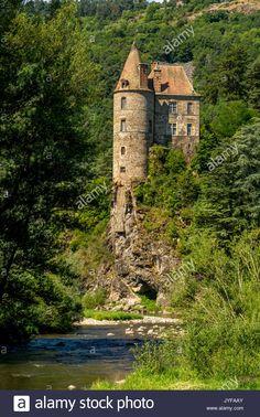 Castle of Lavoute Polignac on river Loire, Haute Loire, Auvergne, France Stock Photo