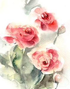 Roses Watercolor Painting Art Print, Red Green Floral Art, Modern Wall Art, Watercolor Art