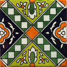 / hand painted mexican talavera tile from hadeda / green and orange /