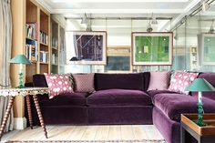 See all our stylish living room design ideas on HOUSE by House & Garden, including this television room in a London flat designed by Adam Bray, which features a purple mohair velvet sofa.