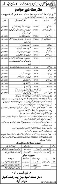 Job Opportunities In Education & Literacy Department Govt. of Sindh Jacobabad