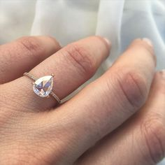 1.09ct pear shaped diamond solitaire in rose gold.