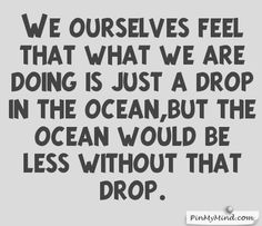 Proverbs - We ourselves feel that what we are doing is just a drop in the ocean,but the ocean would be less without that drop.