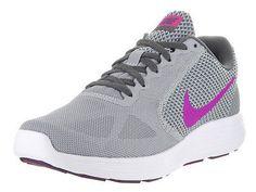 Nike Women's Revolution 3 Wolf Grey/Fire Pink/Dark Grey Running Shoe 7 Women Us