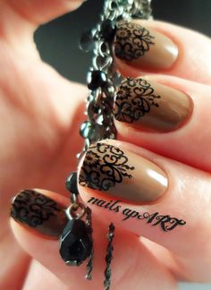 Pinned by www.SimpleNailArtTips.com STAMPING NAIL ART DESIGN IDEAS -   Brown and Black Nail art stamping