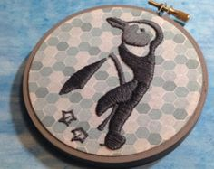 Penguin Embroidery in Hoop, Blue, Grey, Sketch, Ice, Home, Dorm, Office Decor