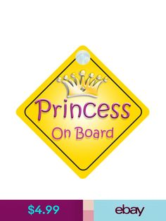 Non Personalised Child//Baby On Board Car Sign ~ Nanas Princess On Board ~ Purple