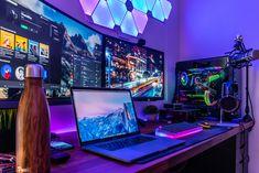 gaming desk Desktop and Mac gaming Setup Gaming Computer Desk, Computer Desk Setup, Gaming Pcs, Gaming Chair, Gaming Desktops, Computer Technology, Best Gaming Setup, Gaming Room Setup, Pc Setup