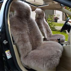 Black, OneSize OKAYDA Car Seat Covers Real Sheepskin Universal Fit Seat Cushion Cover with Short Wool Stripe Black