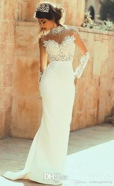 High Neck Long Sleeves Wedding Dresses Mermaid Cheap Sheer Neckline Beads Lace Appliqued BOHO Bridal gowns Open Back Beach Wedding Dress