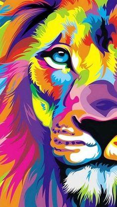 カラフルなライオンのイラスト iPhone5壁紙