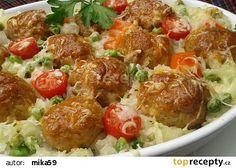 Masové kuličky v rýži recept - TopRecepty.cz Potato Salad, Food And Drink, Potatoes, Treats, Chicken, Ethnic Recipes, Lasagna, Red Peppers, Cooking