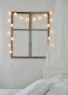 DIY - Old window Frame + Fairy lights