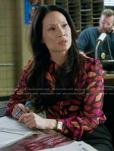 Joan's lips print blouse on Elementary.  Outfit Details: https://wornontv.net/56196/ #Elementary