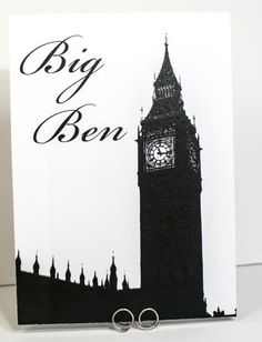 London Landmark Silohuette Table Number Cards, Big Ben, Tower Bridge, the Gherkin etc! Wedding Table Name Cards, Table Cards, Seating Plan Wedding, Seating Plans, Vintage Travel Wedding, London Landmarks, London Wedding, Monogram Wedding, Travel Themes