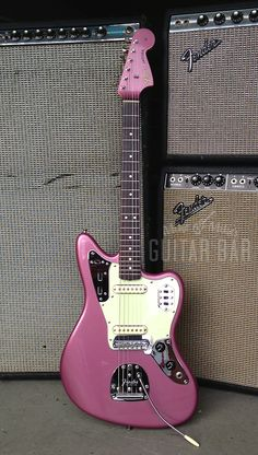 Purple Jaguar #Guitar with #Fender Amps http://ozmusicreviews.com/christmas-gifts-for-guitarists