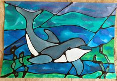 Kathy's AngelNik Designs & Art Project Ideas: Ocean Stained Glass Watercolor Lesson