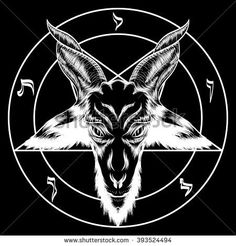 Stock illustration: Pentagram with Baphomet. For tattoos, biker black metal themes. Black and white. Inverted to negative. You can turn off the pentagram. Pentagram Tattoo, Holy Symbol, Black Metal, Black And White, Satanic Art, Baphomet, Symbol Tattoos, Occult, Dark Art