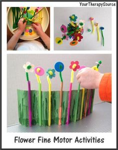 3 Fine Motor Flower Activities to encourage fine motor skills, coordination skills and grading of movements using pipe cleaners, straws and buttons. Great activity to welcome Spring.