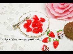 미니어쳐 통딸기 만들기 (폴리머클레이) - YouTube