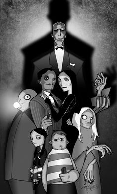 The Addams Family B and W by ~Balsavor on deviantART