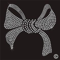 Large Bow Rhinestone Diamante Transfer Iron On Hotfix Gem Crystal Motif Applique