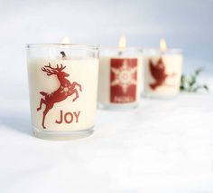 christmas candles set of three votives by hearth and heritage