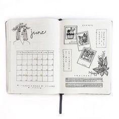 Sur le même compte instagram que l'image précédente, une grille, une représentation des événements du mois et un tracker.