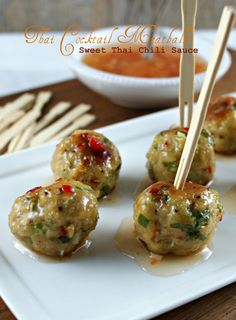 Authentic Suburban Gourmet: Friday Night Bites | Thai Cocktail Meatballs with Sweet Thai Chili Sauce