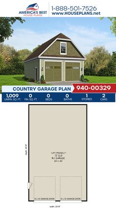 Plan 940-00329 offers a Country garage with 1,009 sq. ft. of space for 2 cars. #garage #garageplans #architecture #houseplans #housedesign #homedesign #homedesigns #architecturalplans #newconstruction #floorplans #dreamhome #dreamhouseplans #abhouseplans #besthouseplans #newhome #newhouse #homesweethome #buildingahome #buildahome #residentialplans #residentialhome