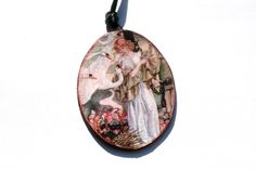 The Swan Princess Reversible Pendant.  Vintage by PaperRoseCottage