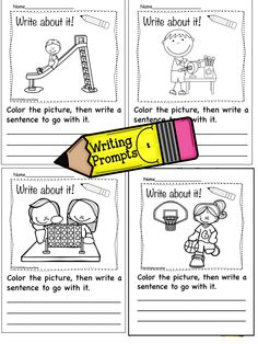 """Do your kids need a visual cue to activate their writing? Mine sure do. These """"NO PREP"""", """"Print and Go"""" writing prompts are terrific for kids who just can't seem to get started writing. The picture gives them something easy to write about. They are engaging and the kids can quickly get to the task of writing. Give them a try and you may be surprised at the results. This MEGA pack will keep them writing all year!"""
