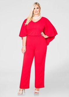 Plus Size Fashion #plussize - Wide Leg Cape Jumpsuit