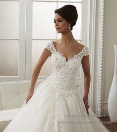 2016 Branco Sexy Cap Manga Plus Size vestido de Baile Lace Vestido de Noiva vestido de Noiva Tulle Vestido Noiva Casamento W3718