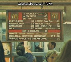 Mcdonald's Old Menu...1972