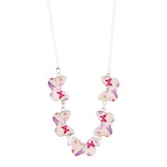 <P>Get sweet girly chic style with this enchanting necklace. Five butterflies with a flowery design adorn a silver chain.</P><UL><LI>Enamel and silver tone finish <LI>Medium fine chain <LI>Lobster clasp closure</LI></UL>