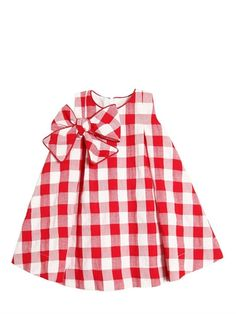 LA STUPENDERIA - COTTON GINGHAM DRESS WITH BOW - RED/WHITE