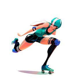Roller Derby Girl by Romy Yao #rollerderby #rollergirl