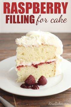 Delicious and easy, this Raspberry Filling for Cakes is perfectly tart and sweet and spreads beautifully between layers of white or chocolate cake. It also keeps well in the frig or freezes well for weeks. Food Cakes, Cupcake Cakes, Raspberry Cake Filling, Raspberry Filling For Cupcakes, White Chocolate Raspberry Cake, Just Desserts, Dessert Recipes, Delicious Cake Recipes, Recipes