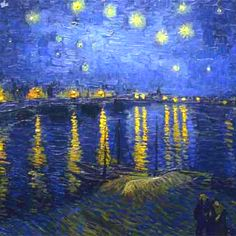 Vincent van Gogh - Starry Night Over the Rhone, This is stunning. - Vincent van Gogh is one of my favorite artist's as far as his works go - they are gorgeous! Vincent Van Gogh, Van Gogh Art, Art Van, Claude Monet, Van Gogh Pinturas, Van Gogh Paintings, Impressionist Art, Oeuvre D'art, Love Art