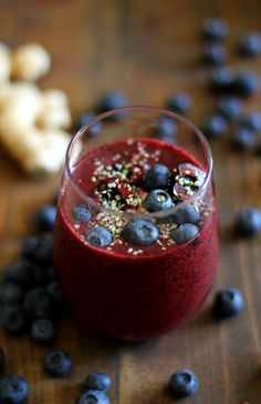 Cherry Berry Ginger Smoothie with Cashew Butter   TheRoastedRoot.net #healthy #breakfast #recipe #paleo #vegan