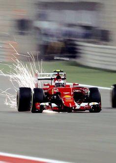 On Track w/Kimi Raikkönen of #Ferrari at the 2015 Bahrain GP