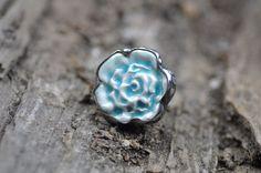 blue ring ceramic ring art ring adjustable ring gift by zolanna