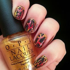 Hawaii lava nails with shatter polish. Lava picture in the link