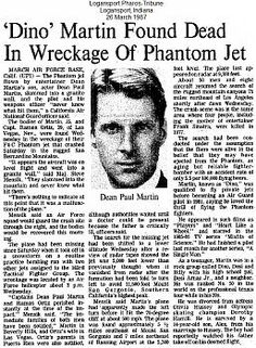 Dean Paul Martin dies in Fighter Jet crash.(son of Dean Martin) Paul Martin, Dean Martin, Classic Hollywood, Old Hollywood, Front Page News, Newspaper Headlines, Celebrity Deaths, Jerry Lewis, Newspaper Article