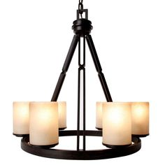 "Hampton Bay Alta Loma 6-Light Dark Ridge Bronze Chandelier-27055 at The Home DepotToo big:  24"" round x 24"" tall.  about $240"