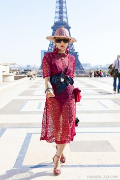 RED DRESS RED STREET STYLE RED STREETSTYLE catherine baba candice lake 2paris fashion week photographer trend blogred dress